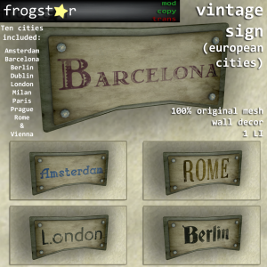 Frogstar - Vintage Sign (European Cities) Poster